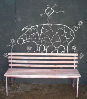 """Кованая скамейка """"Свинья"""""""